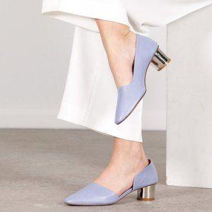 BY FAR Karla D'Orsay Mirror Heel Leather Pumps 38